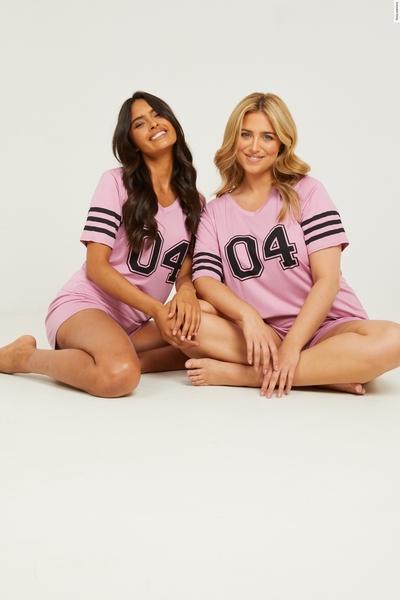 Pink Varsity Short Pyjama Set